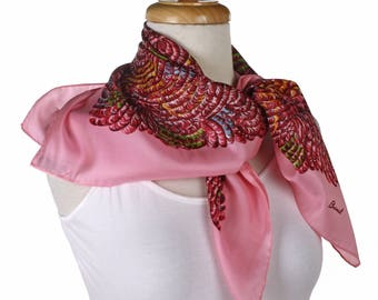 Burmel Silk Vintage Fashion Scarf - Pink with Lush Feather Pattern - Square 28 x 28