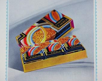 Art Deco Chromolitho Print, Rare Vintage Soaps & Toiletries Catalog Illustrations: Cálber Perfumeria España, Pg 9-10, Black Mat Optional