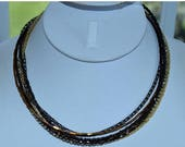 "ON SALE Chico's Black, Amber, Gold, Brown Beaded, Chain Multi-Strand Necklace, Vintage, 16""-18-1/2"""