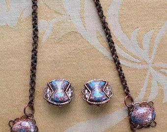 """ON SALE Aqua Blue, Faux Goldstone Copper Necklace Set, Clip Earrings, Vintage, 15-12/"""" (AR16)"""