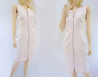 80s Pink Denim Dress 80s Bodycon Dress Pastel Pink Dress Knee Length Dress Pink Summer Dress Sleeveless Dress Retro Denim Dress xs