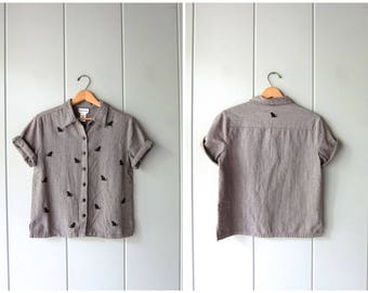 Grey Cotton Blouse with CATS Cropped Minimal Top Button Up Short Sleeve BOXY Tee 90s Modern Basic Kitty Top Vintage Womens Small