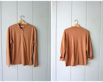 basic 80s caramel brown shirt long sleeve button front henley simple cotton blend shirt minimal mock neck shirt Womens Large XL