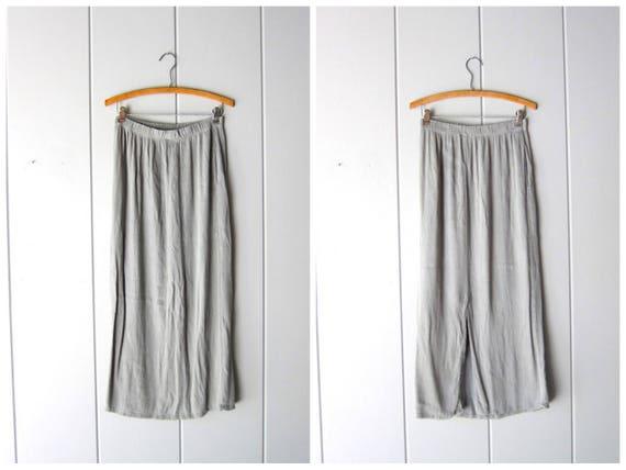 Vintage Minimal Skirt Long Ribbed Skirt with Pockets Pale Green Rayon Skirt Elastic Waist Plain Simple Summer Midi Skirt Women's Medium