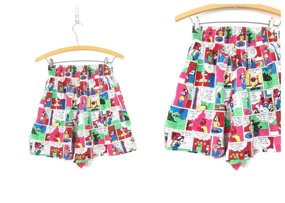 Comic Strip Print shorts Long Wide Leg Pattern Shorts High Elastic Waist Cotton Shorts Catnip Cartoon Characters Women's Size Medium