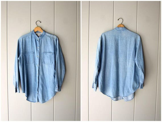 Minimal Denim Button Up Shirt Vintage 90s Jean Shirt Basic Long Sleeve Collarless Shirt Modern Boho Jean Shirt Slouchy Worn in Denim Medium