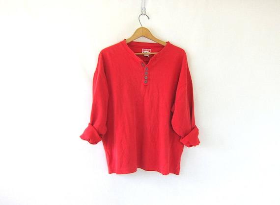 vintage red Marlboro long sleeve long underwear top. minimal look button front shirt basic henley COED shirt Size XXL 2XL