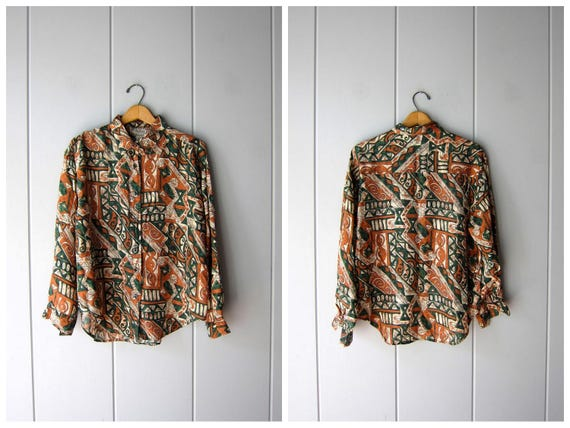Vintage Silk Blouse 80s 90s Button Up Silk Top Long Sleeve Slouchy Abstract Safari Modern Minimal Top Green Copper White Womens Medium Large