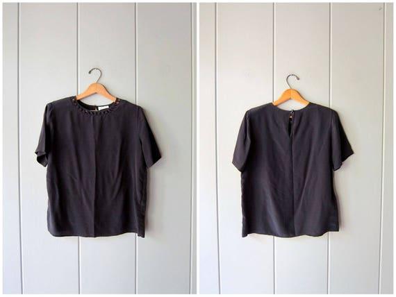 Black Silk Top 90s Boxy Matte Black Tee Minimal Cropped Blouse Vintage 90s Cut Out Silk tshirt Modern Black Tee Womens Small Medium 6