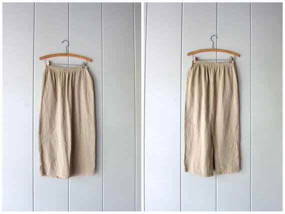 Minimal 90s Skirt Natural Beige Textured Cotton Knit Skirt High Waist Midi Skirt w/ Pockets Plain Basic 80s Long Modern Skirt Womens Medium