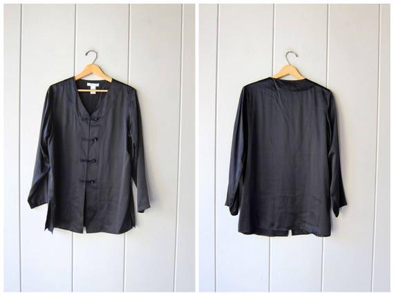 Minimal Silk Blouse Oversized Slouchy Shirt Kimono Knot Buttons Modern Silk Top Long Sleeve Casual Black Silk Top Loose Fit Womens Medium