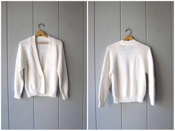 80s Natural White Acrylic Cardigan Sweater Button Up Cropped Soft Knit Minimal Sweater Vintage Preppy Basic Slouchy Jumper Womens Medium