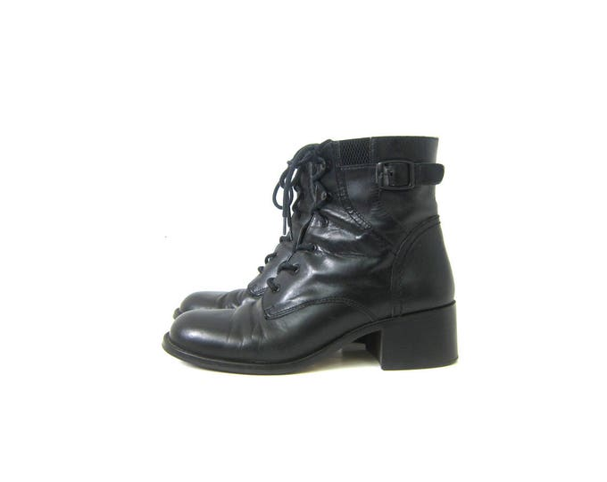 90s Black Leather Boots Tall Vintage Granny Booties Leather Lace Up Boots Eyelet Grunge Boots Womens size 7.5
