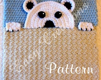 PDF CROCHET PATTERN Peek-a-Polar Bear, Polar Bear Pajama Pillow, boy Pj bag, girl Pj pillow, animal Pj bag, children Pj bag, bed Pj bag