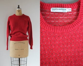 vintage 1980s sweater / 80s pull over sweater / 80s Laura Ashley sweater / 80s wool sweater / cranberry red sweater / large extra large