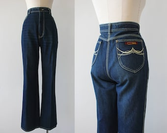 vintage 1980s jean / 70s flared denim / 70s flared pants / 80s mom jeans / 80s high waisted jeans / 34 inch waist L 36M