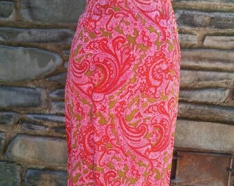 60s paisley mod pencil skirt pink bombshell pinup psychedelic 1960s