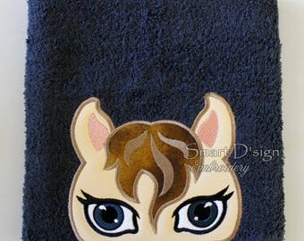 "Horse Peeker Applique 13x18cm 5x7"" Hooded Towel Embroidery Design Stickdatei"
