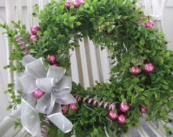 CHRISTMAS in JULY * Wreath * Shabby Cottage * Pink * Bulbs Ornaments * Glitter * Silver Bow