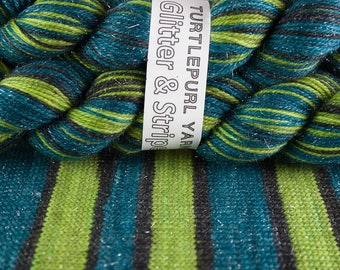Absinthe - Hand-dyed Self-striping Sock Yarn Glitter & Stripes