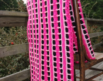 Hot Pink Black Lap size afghan stroller blanket toddler afghan throw afghan