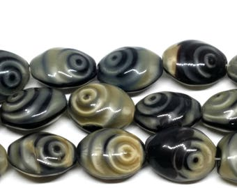 Vintage Czech Pearlescent Taupe and Black Glass Beads
