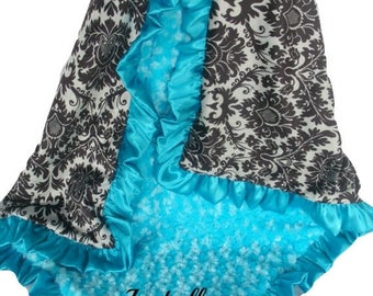 SALE Black and Gray Damask Minky Baby Blanket with Aqua Turquoise Rose Swirl and Satin Ruffle Trim, available in three sizesCan Be Personali