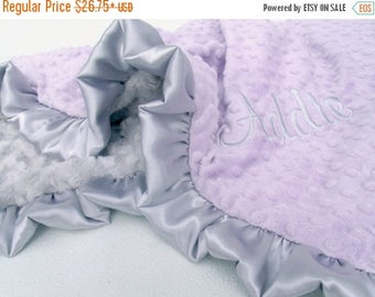 SALE Lavender and Silver Gray Minky Baby Blanket - Silver Swirl Minky Can Be Personalized