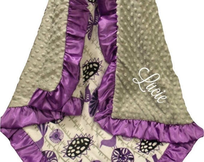 SALE Embroidered Floral Aviary Design Purple and Navy Minky Baby Blanket, Lavender Personalized Swaddle Blanket