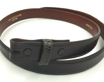 Barry Kieselstein Cord  Brown Lizard Belt Size 3