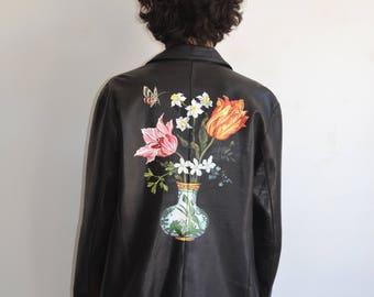 Memento Mori Hand Painted Leather Jacket/ Vanitas Still Life/ Large