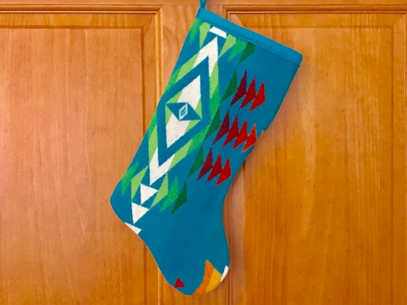 Christmas Stocking XL Wool Turquoise Overall