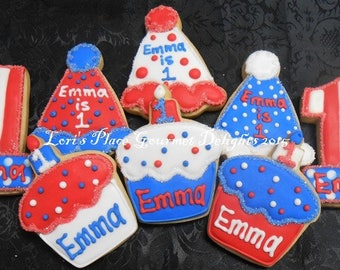 Patriotic Birthday Cookies - 12 Cookies