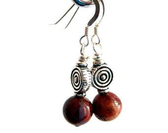 Cork Red Marble Earrings. Rare Irish Stone. Roisin