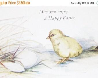 Mid Year Sale Vintage Easter Postcard, Easter Postcard, Vintage Postcard, Baby Yellow Chicks, White Easter Egg, Egg Hatching, Artist Signed