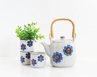 Vintage Stoneware Tea Set / Asian Tea Set / Blue and White Tea Set / Boho Tea Set for Three / Stoneware Teapot and Teacups