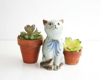 Mid Century Tonala Cat Figurine / Ken Edwards El Palomar Folk Art Cat / Tonala Mexico Ceramic Cat