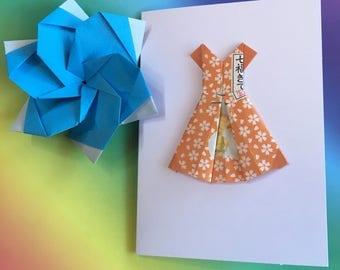 Origami greeting card - Hello Kitty paper dress (orange)