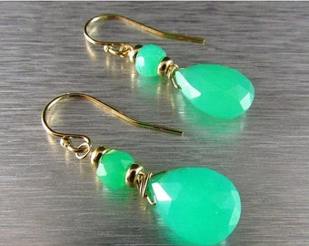 25 OFF Chrysoprase Drop Gold Filled Earrings