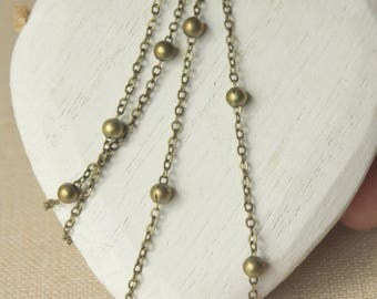 Brass satelite chain, Antiqued Brass chain necklace, choose 14 inch - 36 inch, thin delicate solid brass, link 2mm, soldered link SF150