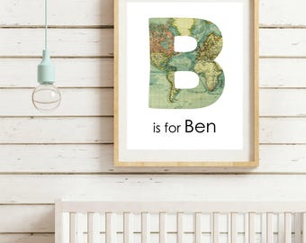 Boys wall art baby boy nursery travel adventure nursery theme custom name print personalized baby nursery map decor nursery decor boy