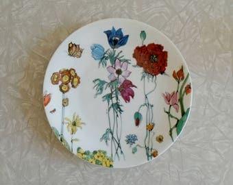 """limoges """"jardin le fleurs"""" plate by denby, 1975, made in france, illustration by fleur cowles, porcelain plate, 70s floral botanical pattern"""