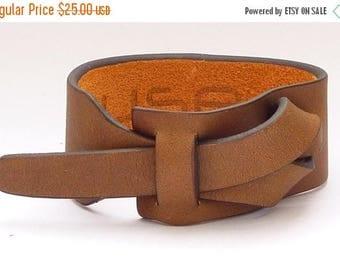 On Sale Dark Camel Leather Cuff Bracelet Nickle-Free