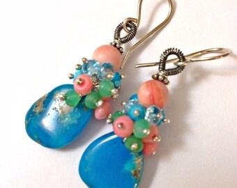 MEMORIAL DAY SALE Turquoise Cluster Earrings Gem Slice Wire Wrap Earrings Coral Chrysoprase Blue Topaz Mixed Metal Dangle Earrings