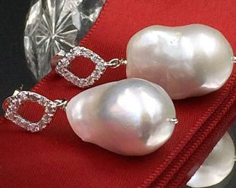 SALE Nucleated Baroque Pearl Earrings Sterling Silver CZ Post Wire Wrap Ivory Pearl Dangle Earring Ivory Luxury Nucleated Baroque Pearl Earr