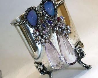 Black Opal Earring Australian Lightning Ridge Opal Diamond Bezel Look, Pink Amethyst Long Post Earring, October Birthstone Swarovski Crystal