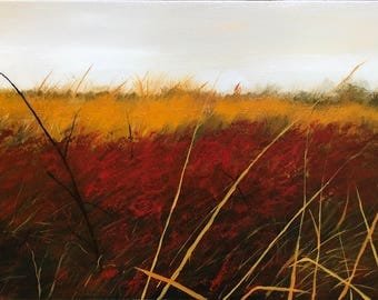 Field of Red and Gold -Original Acrylic Landscape Painting on Canvas, Red Fall Flowers and Golden Grass, rich colors and texture, nature