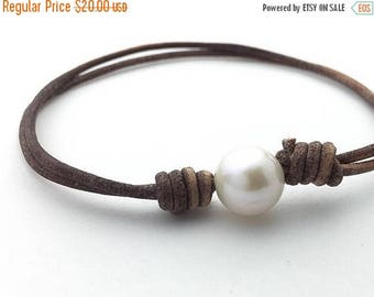 Rustic Brown Leather Anklet / Bracelet. Adjustable. White Freshwater Pearl and Antiqued Leather