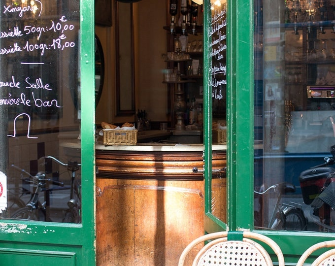Paris Photography, Summer at a Parisian Cafe in the Marais, Cafe Photo, Art Prints, Bike, Paris Photography, Green Paris, French Kitchen Art