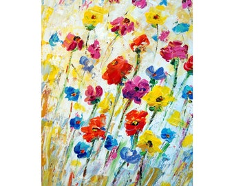 Flowers Painting Palette Oil Impasto Textured White Abstract Flower Modern Impressionism Painting